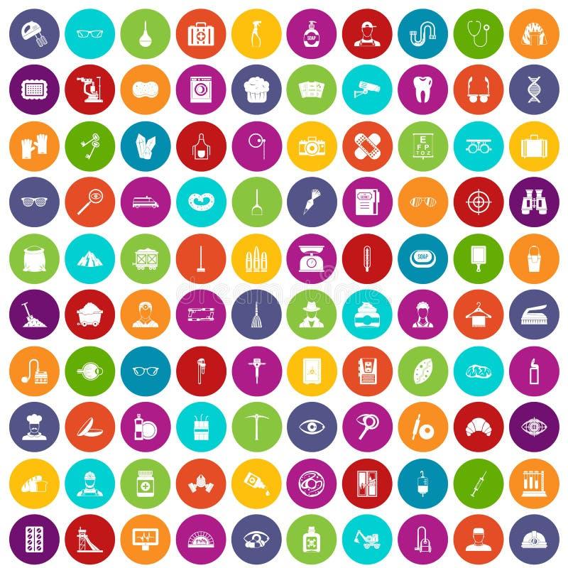 100 couleur réglée de profession par icônes illustration libre de droits