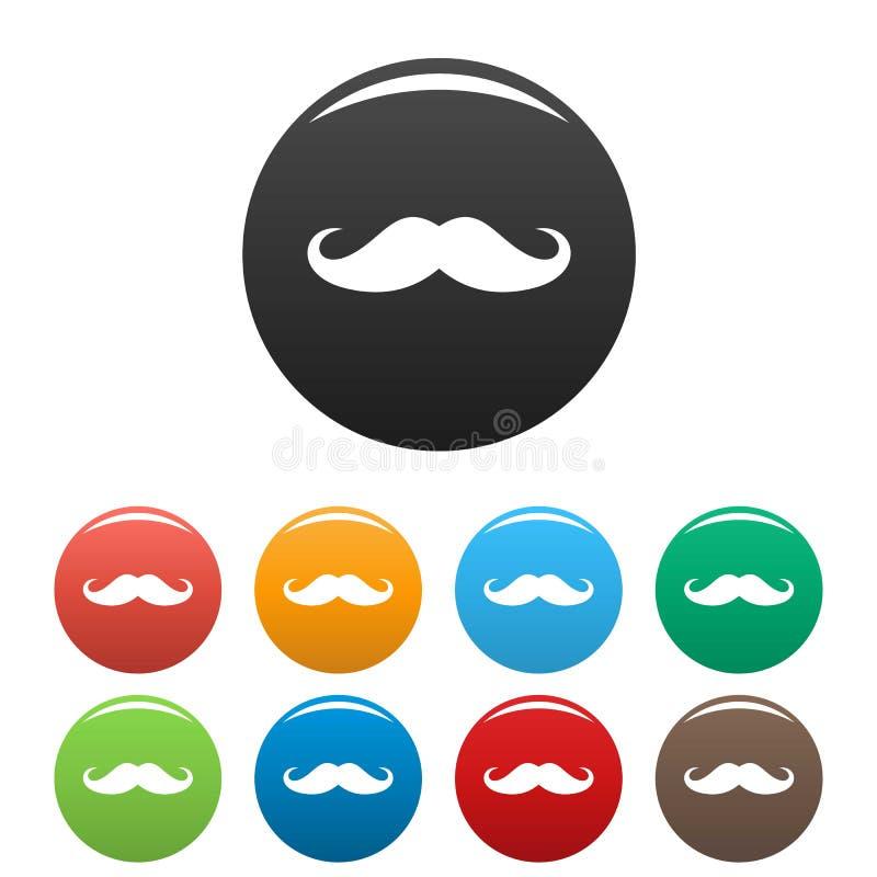 Couleur réglée par icônes de moustache de l'Italie illustration libre de droits