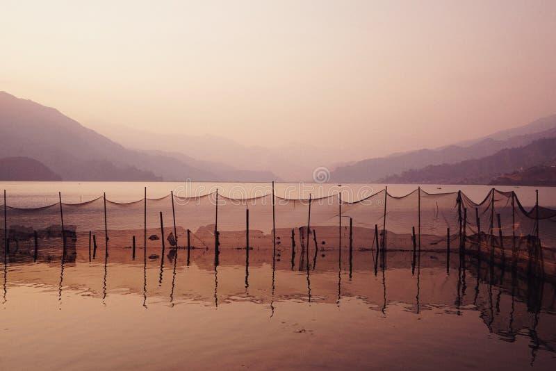 couleur rêveuse de coucher du soleil de lac Phokara, Népal images libres de droits