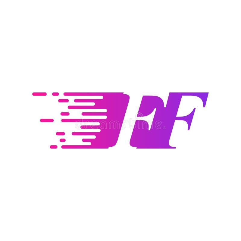 Couleur rose pourpre de vecteur rapide de logo de FF de lettre initiale illustration stock