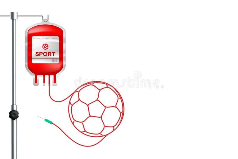 Couleur rouge de sac de sang avec la forme de ballon de football faite à partir de l'illustration de corde illustration de vecteur