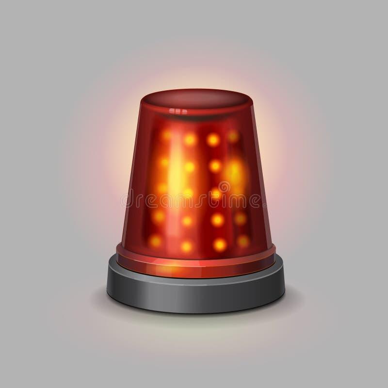Couleur rouge de sirène de police de clignoteur réaliste illustration libre de droits