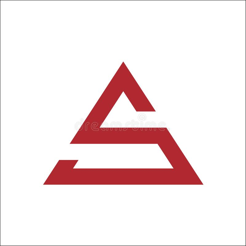 Couleur rouge de vecteur de logo de triangle de S illustration de vecteur