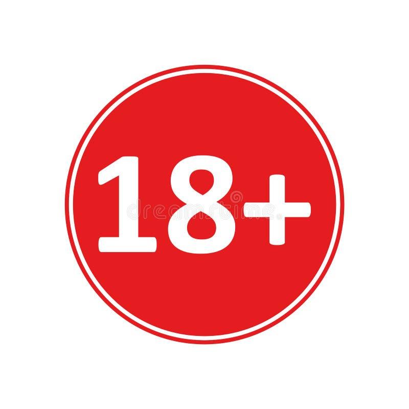 Couleur ROUGE dix-huit plus le vecteur eps10 d'icône Limite d'âge dix-huit plus illustration stock