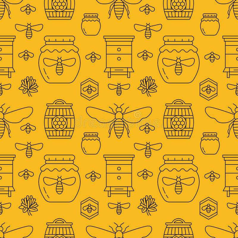 Couleur sans couture de jaune de modèle de l'apiculture, illustration de vecteur d'apiculture Ligne mince abeille d'icônes, ruche illustration libre de droits