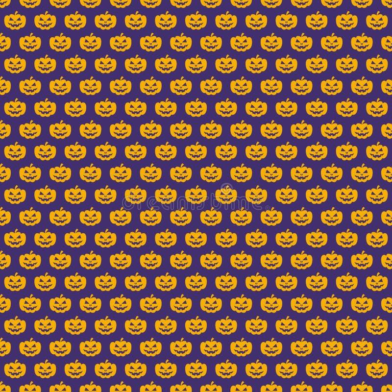 Couleur sans couture de jaune de modèle de potiron de Halloween sur le fond lilas pour l'affiche de décoration illustration stock
