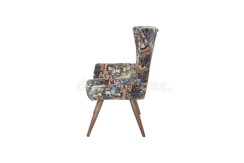 Couleur Sofa Armchair jaune d'isolement sur le fond blanc photo stock