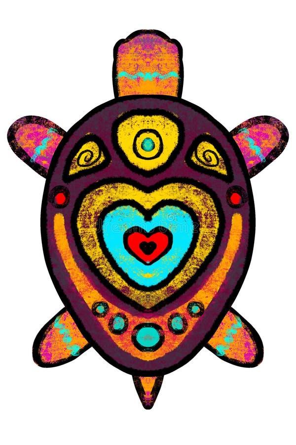 Couleur, tortue stylisée avec l'ornement - illustration illustration libre de droits