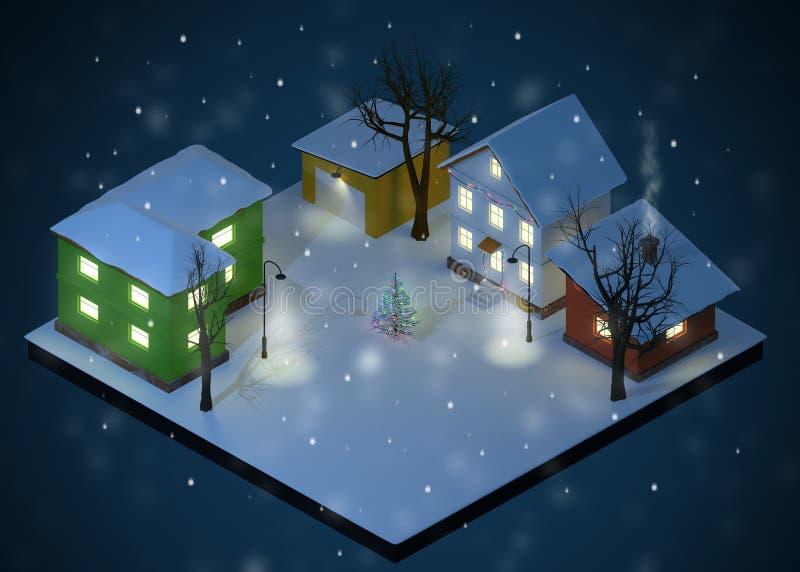 Couleur Toy Houses Yard de nuit de Noël illustration stock