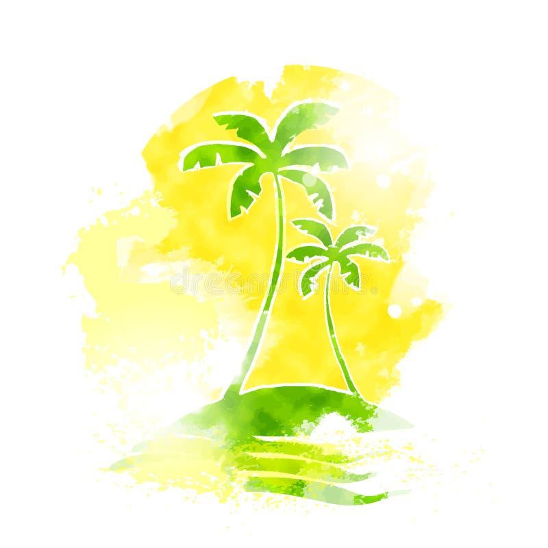 Couleur tropicale de grunge de l'eau d'île de palmier illustration stock