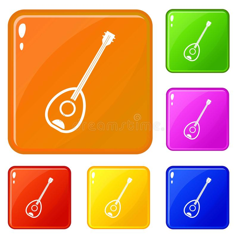 Couleur turque de vecteur d'ensemble d'icônes d'instrument de musique de Saz illustration stock