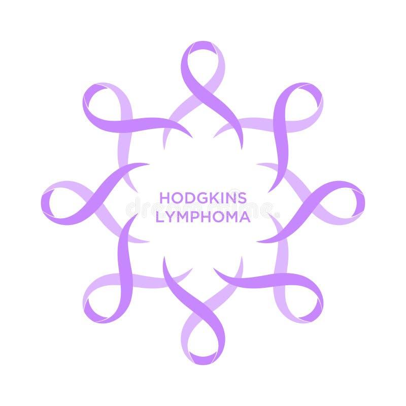 Couleur violette de ruban de Cancer représentant l'appui d'aborder des cancers illustration stock