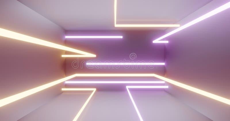 couleurs au néon de tubes de la lumière 3d, scène légère blanche 3d rendre illustration libre de droits