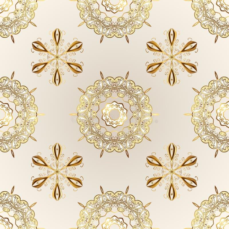 Couleurs beiges et neutres avec les éléments d'or illustration stock