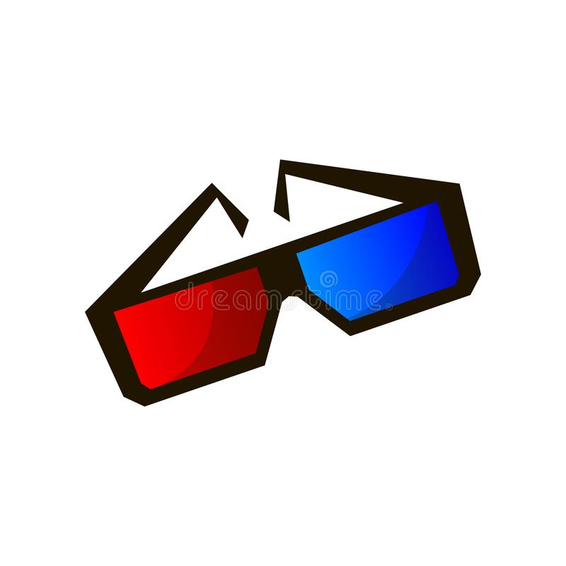 Couleurs bleues rouges de vision en verre 3d de plastique ou de carton de cinéma illustration libre de droits