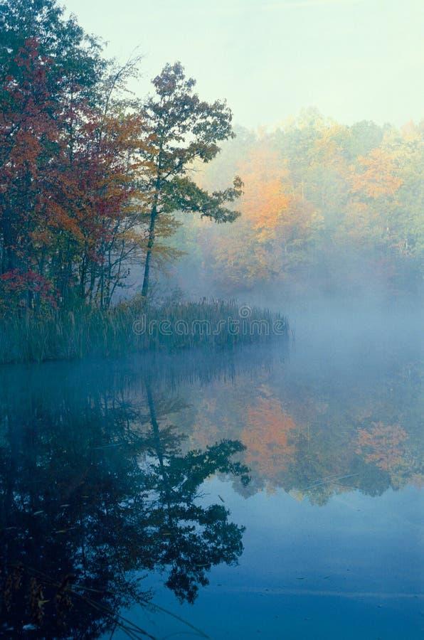 Couleurs brumeuses d'étang et d'automne photographie stock libre de droits