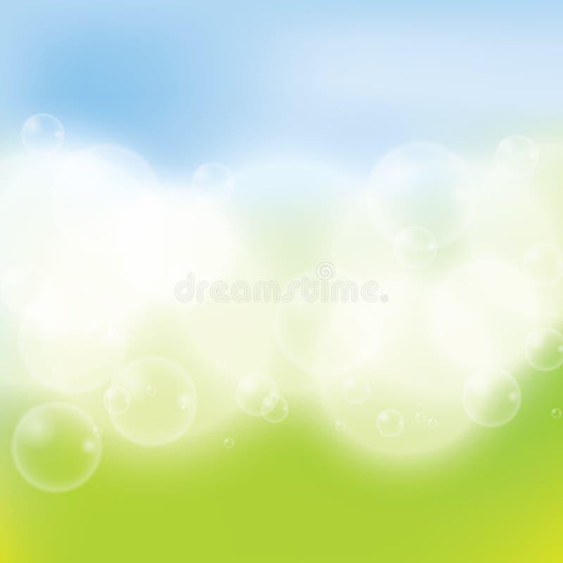 Couleurs claires vert-bleu de fond de ressort abstrait illustration stock