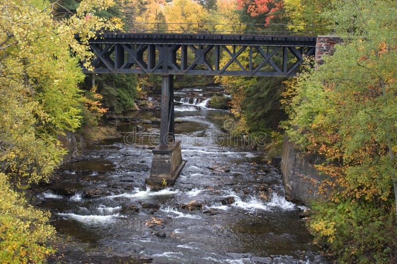 Couleurs d'automne, cascade à écriture ligne par ligne, pont en chemin de fer, horizontal image libre de droits