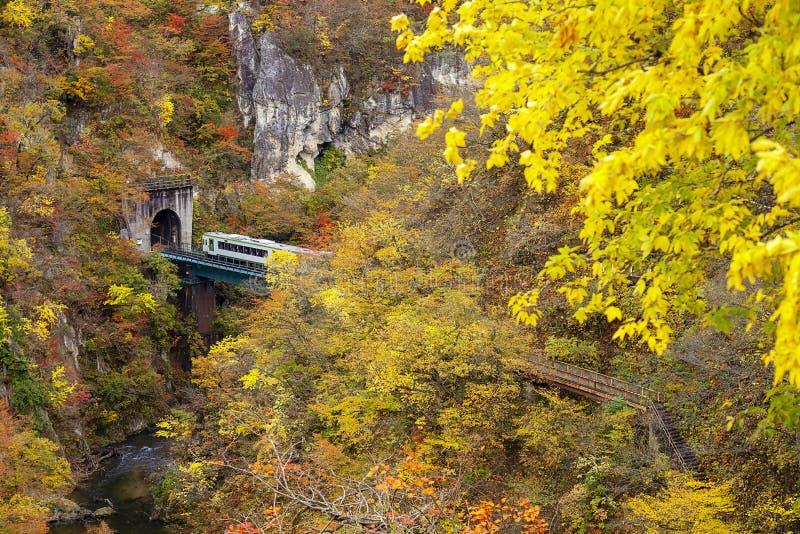 Couleurs d'automne de gorge de Naruko au Japon et à l'arrière-plan gentil de bleu et de nuage images libres de droits