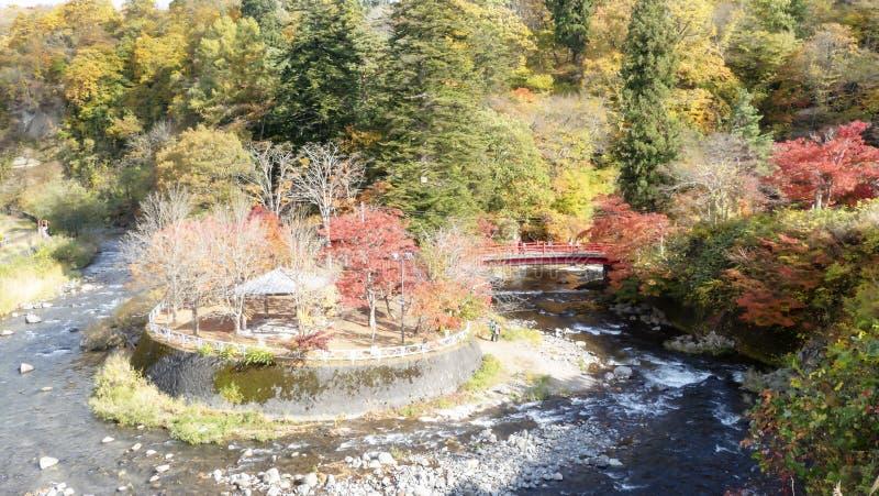 Couleurs d'automne de gorge de Naruko au Japon et à l'arrière-plan gentil de bleu et de nuage image libre de droits