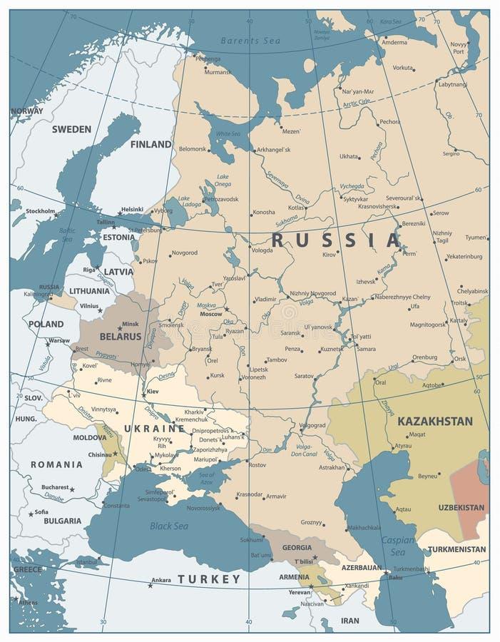 Couleurs de carte de l'Europe de l'Est vieilles illustration libre de droits