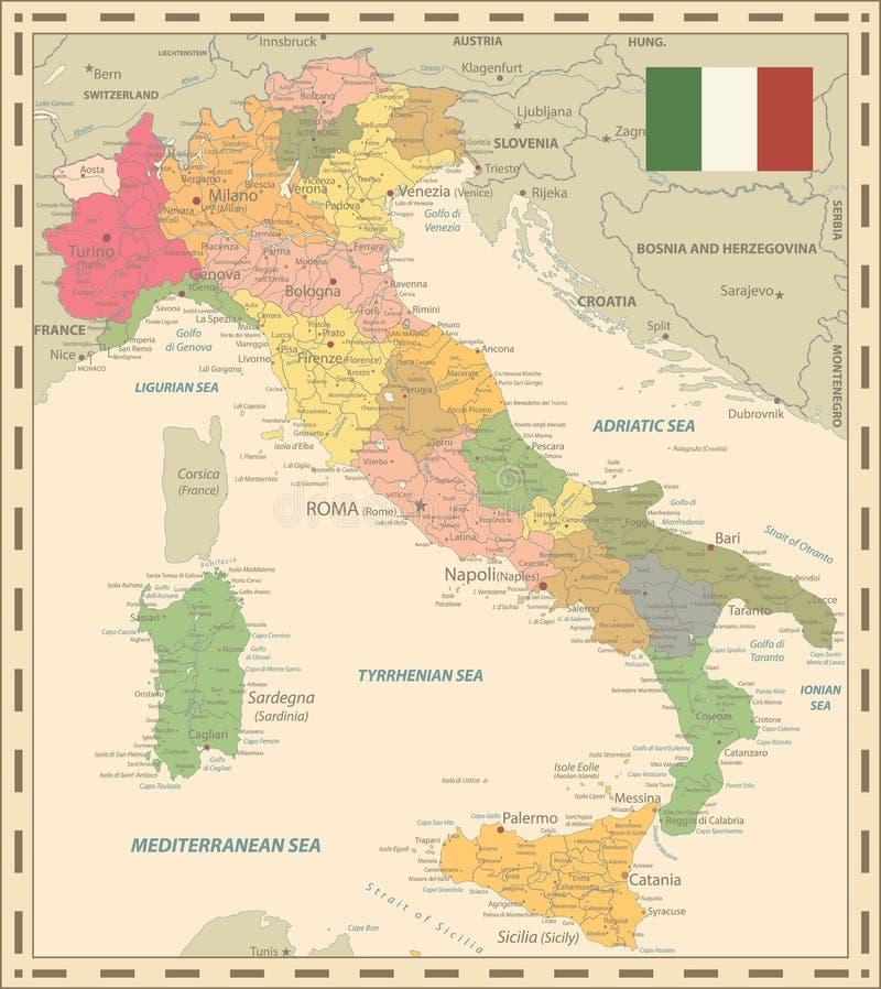 Couleurs de carte de l'Italie rétros illustration stock