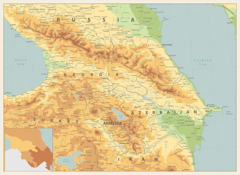 Couleurs de carte physique de Caucase rétros illustration de vecteur