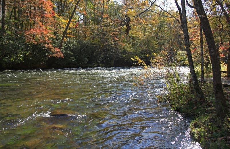 Couleurs de chute et la rivière fonctionnant le long de Ridge Parkway bleu photos stock