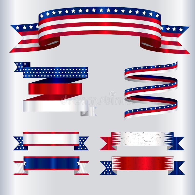 Couleurs de drapeau des Etats-Unis de collection de rubans illustration libre de droits