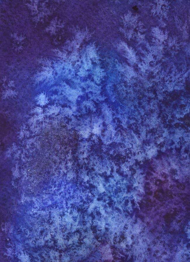 Couleurs de fond d'aquarelle, bleues et violettes abstraites, peintes à la main, modèles d'hiver illustration libre de droits