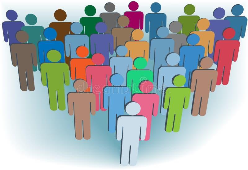 Couleurs de gens de symbole de compagnie ou de population de groupe illustration de vecteur