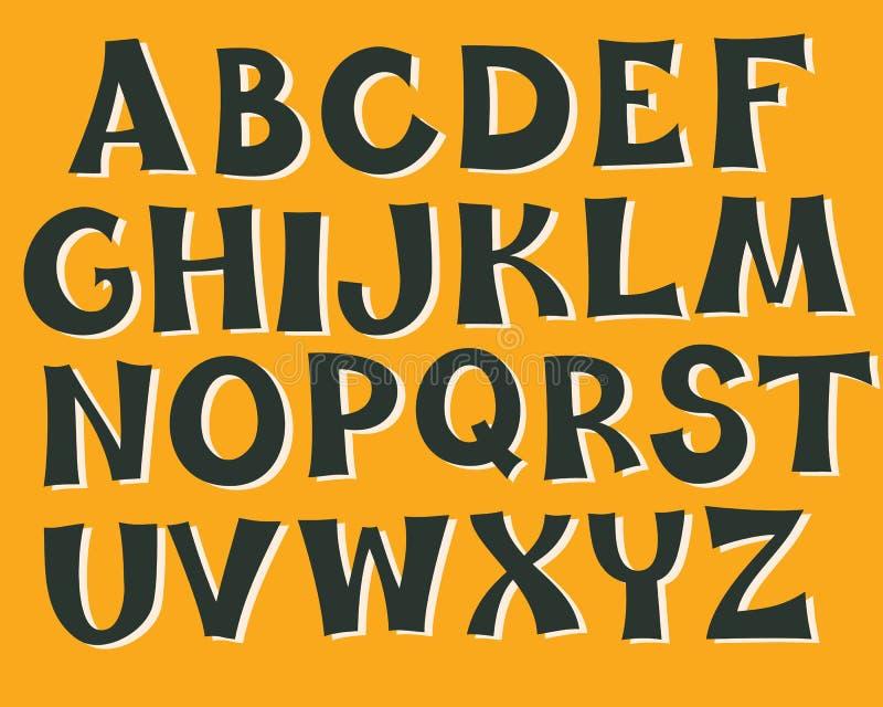 Couleurs de monochrome d'alphabet anglais illustration libre de droits