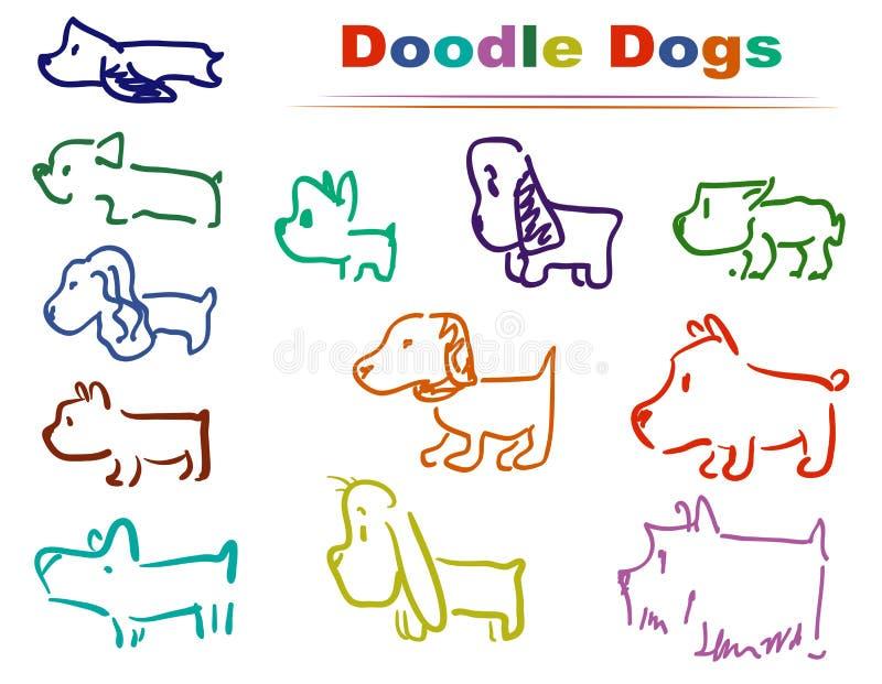 Couleurs du chien 002 de griffonnage illustration libre de droits