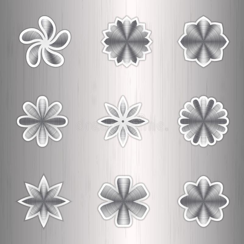 Couleurs en aluminium d'icône sur un fond argenté illustration libre de droits
