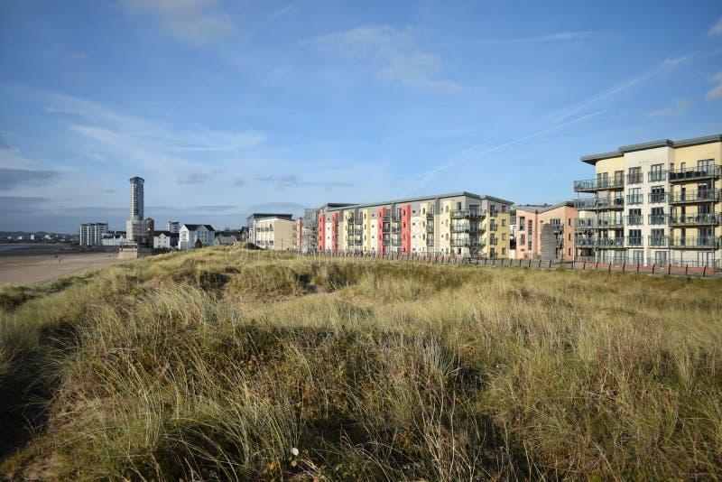Couleurs en pastel, appartements de marina de baie de Swansea photographie stock libre de droits