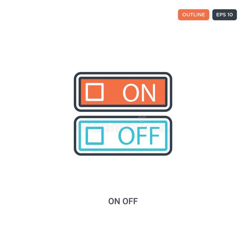 2 couleurs Icône vectorielle de ligne de concept hors ligne de concept deux icônes de couleur On off outline isolées avec des cou illustration de vecteur