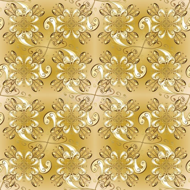 Couleurs jaunes et beiges avec les éléments d'or illustration stock