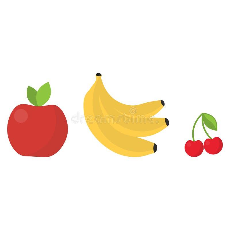 Couleurs lumineuses mignonnes des collections de vecteur de fruits illustration stock