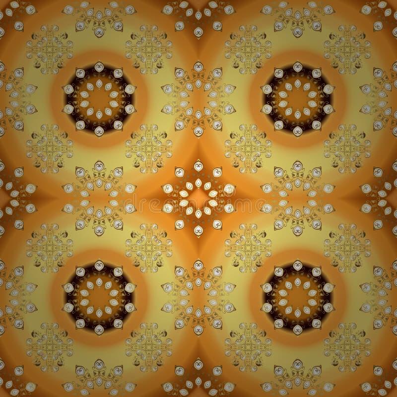 Couleurs oranges et jaunes avec les éléments d'or illustration de vecteur