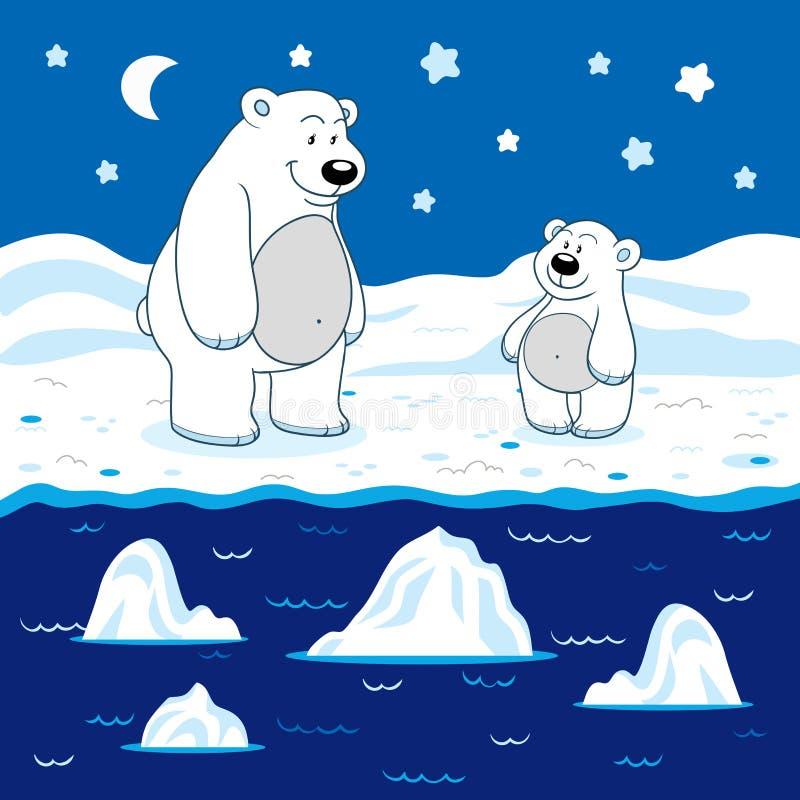 Couleurs pour des enfants : blanc (ours blancs) illustration stock