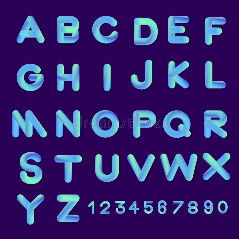 Couleurs réglées de gradient de style de police de la bulle 3D de vecteur d'alphabet D plat illustration stock