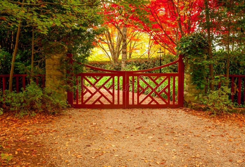 Couleurs rouges de porte et d'automne de beaux jardins photos stock
