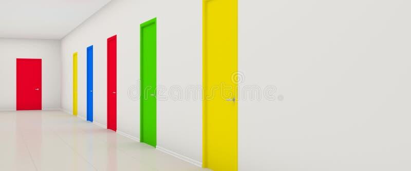Couloir Avec Des Trappes De Couleur Illustration Stock ...