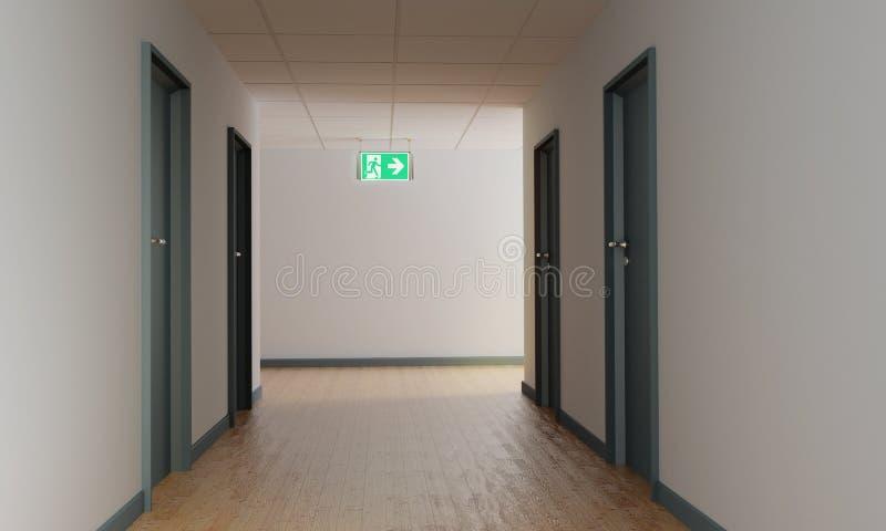 Couloir avec une sortie de secours et bouclier pour la sortie de secours illustration libre de droits