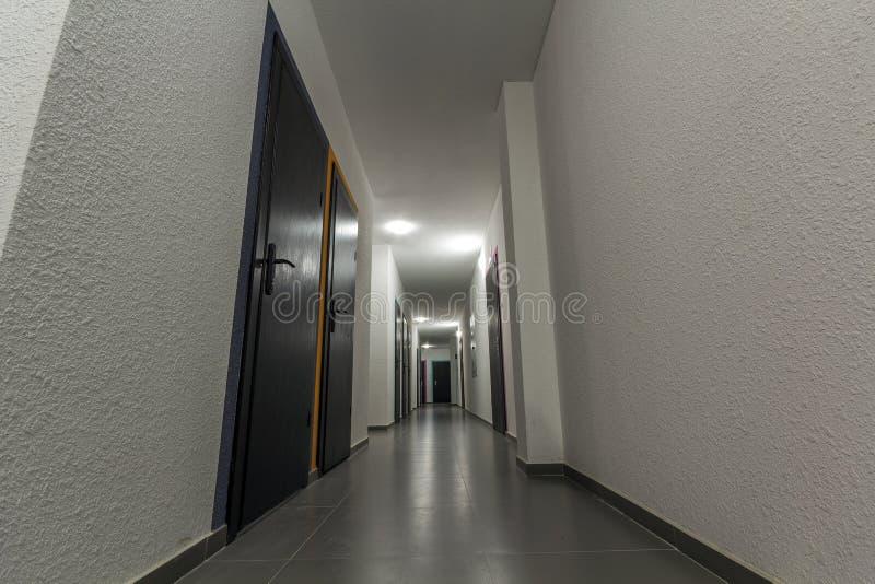 Couloir blanc étroit avec beaucoup de portes dans un immeuble photo stock