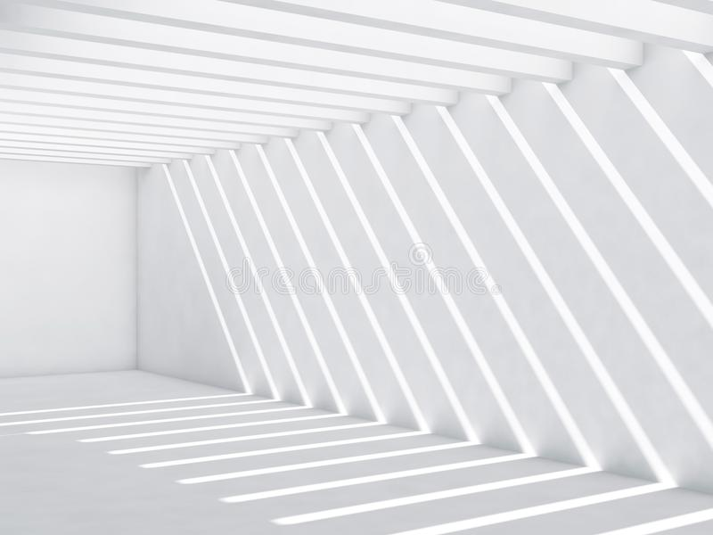 Couloir blanc avec le modèle des faisceaux lumineux illustration de vecteur