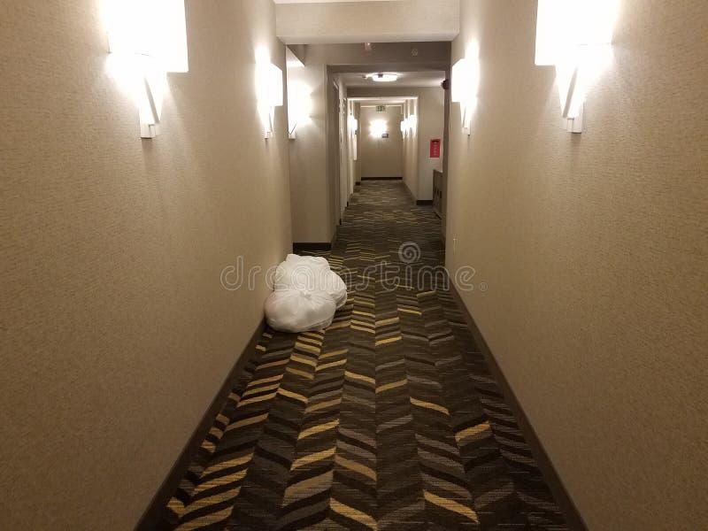 Couloir Blanc Et Gris Avec Des Lumières Et Des Sacs De ...