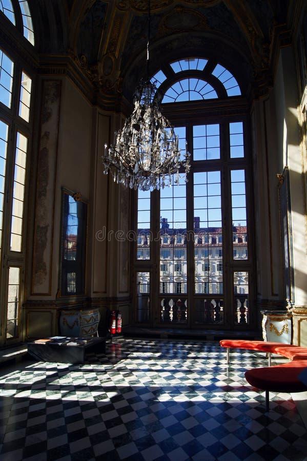 Couloir c?l?bre royal de Palazzo Madama de palais de l'Italie Turin photographie stock libre de droits