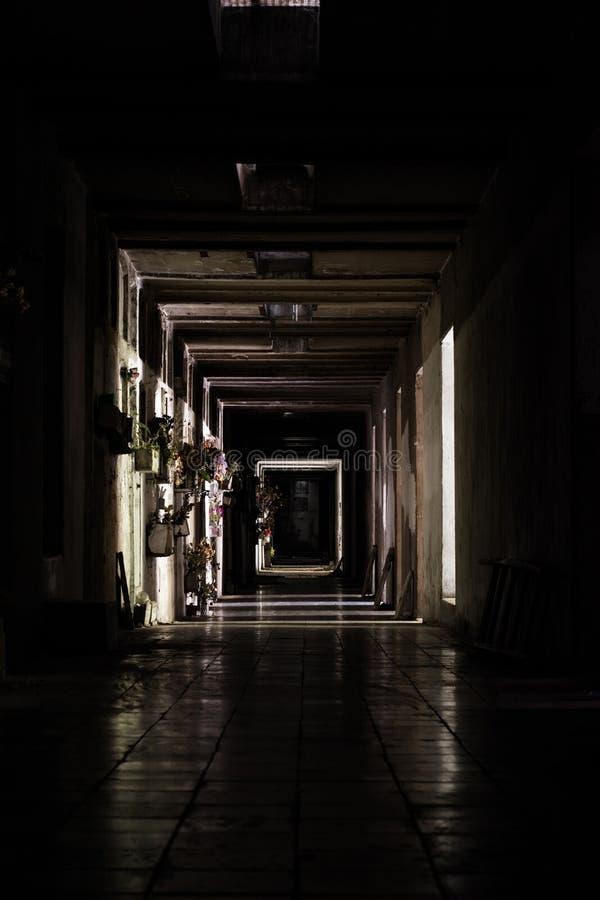Couloir d'un cimetière abandonné photos libres de droits