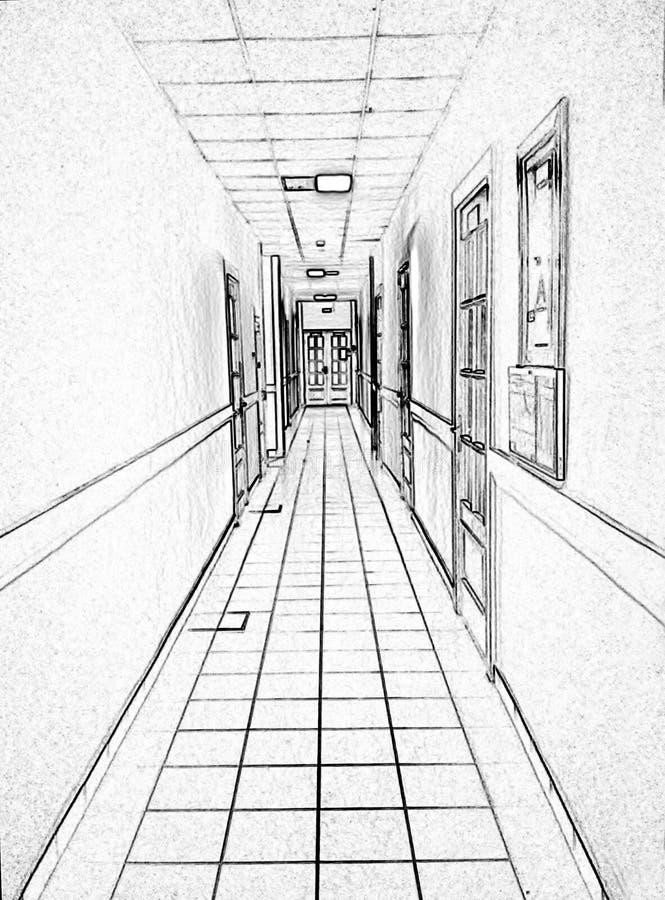 Couloir dans le bureau, dessin noir et blanc, traitement de photo photos stock